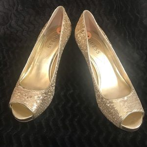 Guess gold sequined peep toe pumps